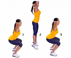 Упражнения для попы - приседания с выпрыгиванием